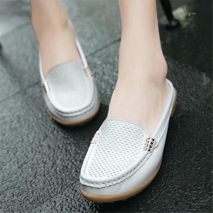 Mocassin Femmes Cuir Occasionnelles Classique Chaussure BWYS-XZ045Blanc38 HGZk4