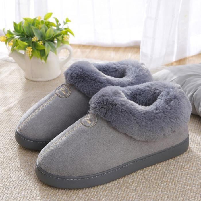 Bottes Couple Gris Plate slip Maison De Non Chaude Neige Chaussures D'hiver forme Wedge 8wf8qr4