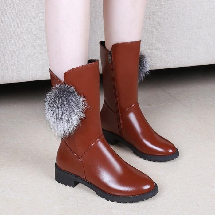 Bottes femme en coton velours chaud, plus d'hiver sauvages avec des bottes femmes bottes Martin section hiver 2017 nouvelles
