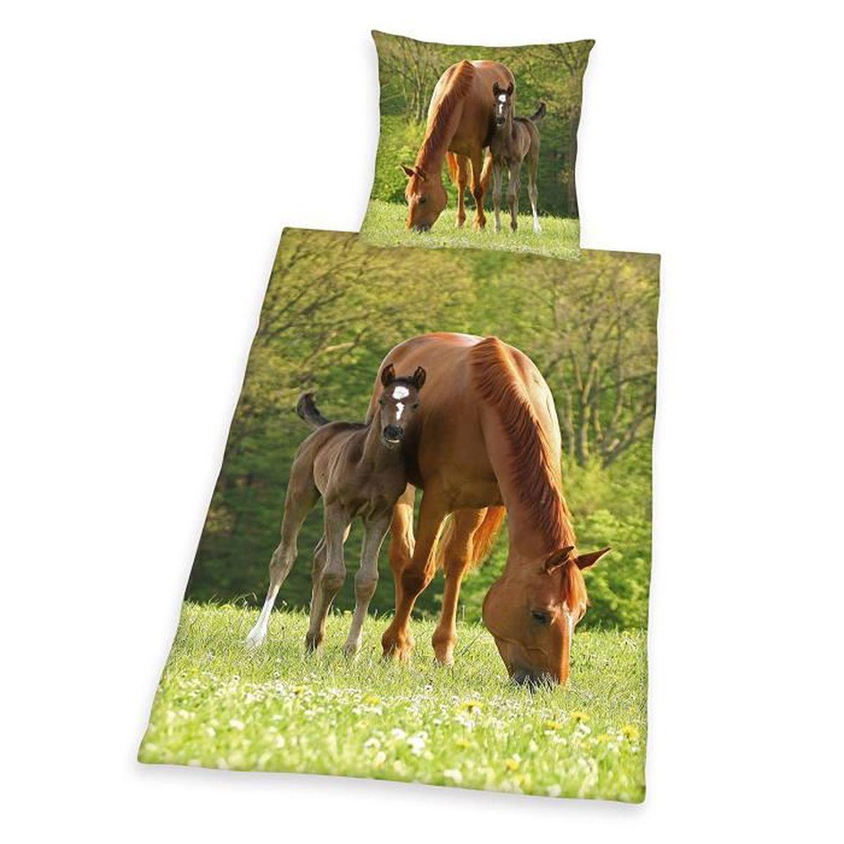 Housse de couette cheval et son poulain et taie achat for Housse couette cheval