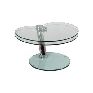 TABLE BASSE Table basse verre et acier plateau pivotant