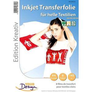 PAPIER TRANSFERT Papier transfert jet d'encre textiles clairs - 8 f