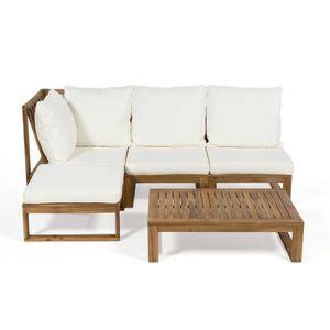 Salon de jardin bas en acacia FSC 4 places MOVEA - Ecru - Achat ...
