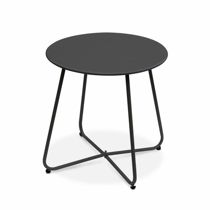 Table basse ronde – Cecilia gris anthracite – Table d\'appoint ronde ...