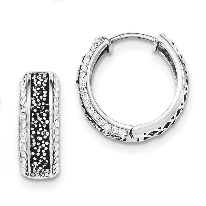 7 mm Argent Sterling poli Blanc et Cristal Noir Earringss-Créoles