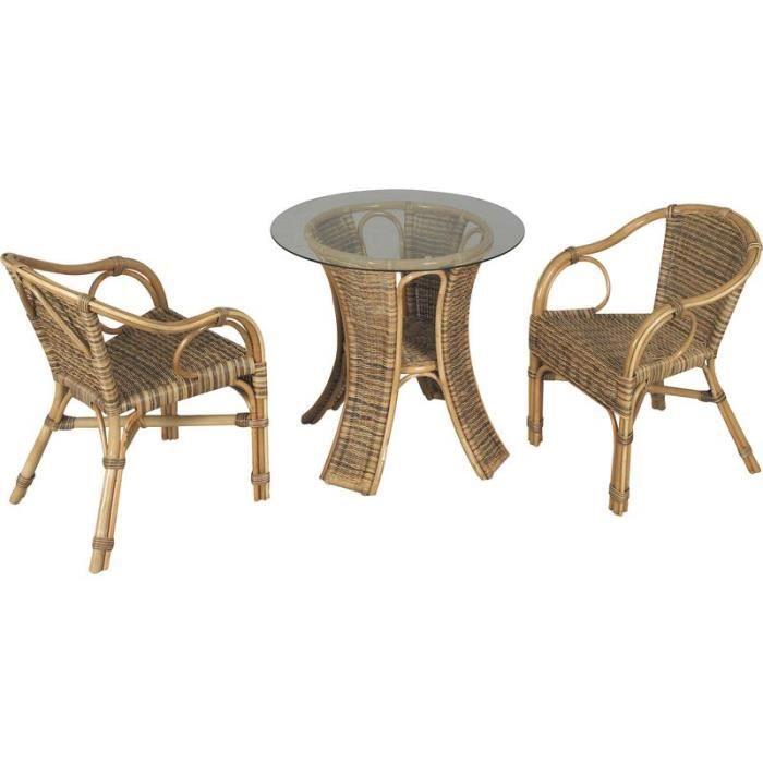 Salon de jardin 1 table ronde plateau verre 2 fauteuils en rotin ...
