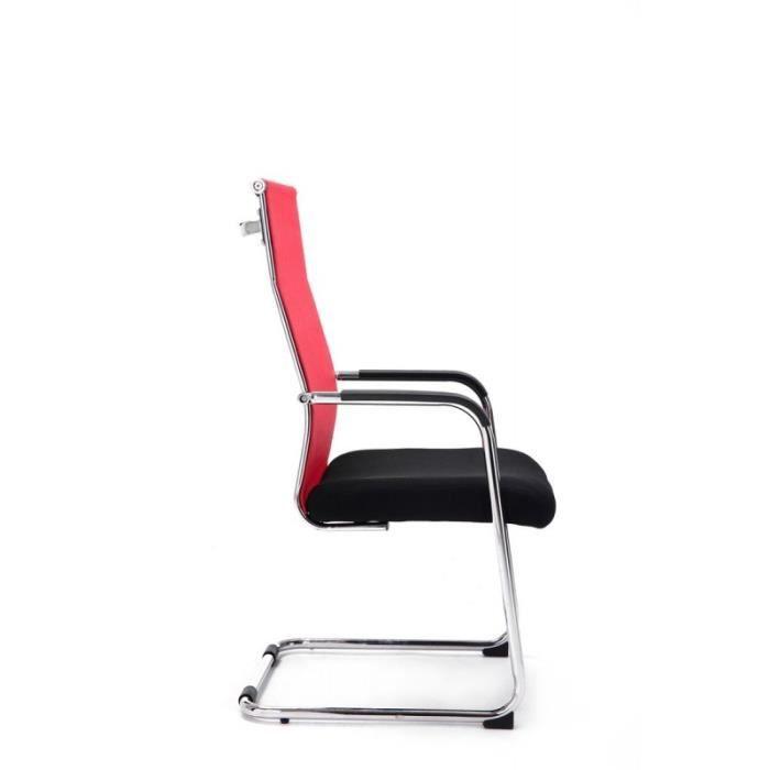meilleure sélection 86358 8ce49 Chaise pour visiteur fauteuil de bureau avec accoudoirs rouge pieds chromé  BUR10148
