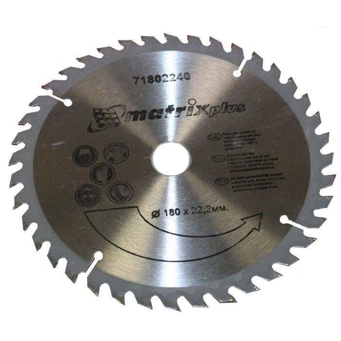 Disque lame a bois pour scie 180x22 2mm t40 achat - Disque scie circulaire ...