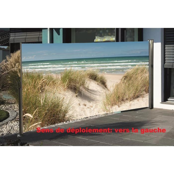 brise vue r tractable avec motif photo 160 x 300 cm plage de la mer baltique achat vente. Black Bedroom Furniture Sets. Home Design Ideas