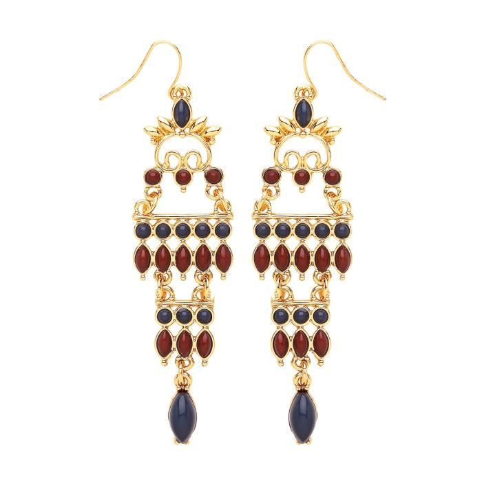 Front Row Gold Colour Navy And Burgundy Beaded Chandelier Earrings OS0ZC