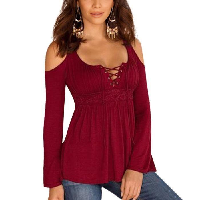 bordeaux haut chemise femme manche longue paules d nu es push up grande taille amincissant pour. Black Bedroom Furniture Sets. Home Design Ideas