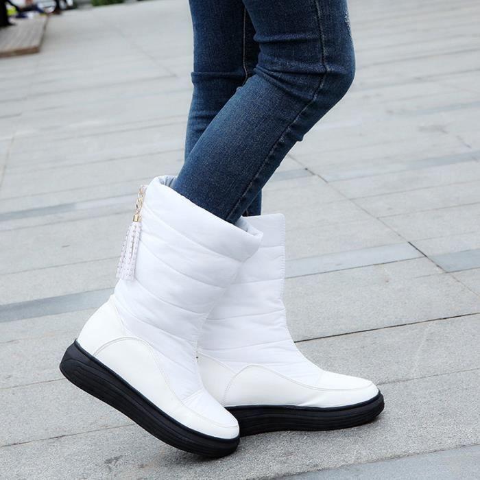 Chaussures Femmes Bottes Genou Hautes Coton noir Chaudes Plat De D'hiver Rouge Talons blanc Neige rvwvIqp