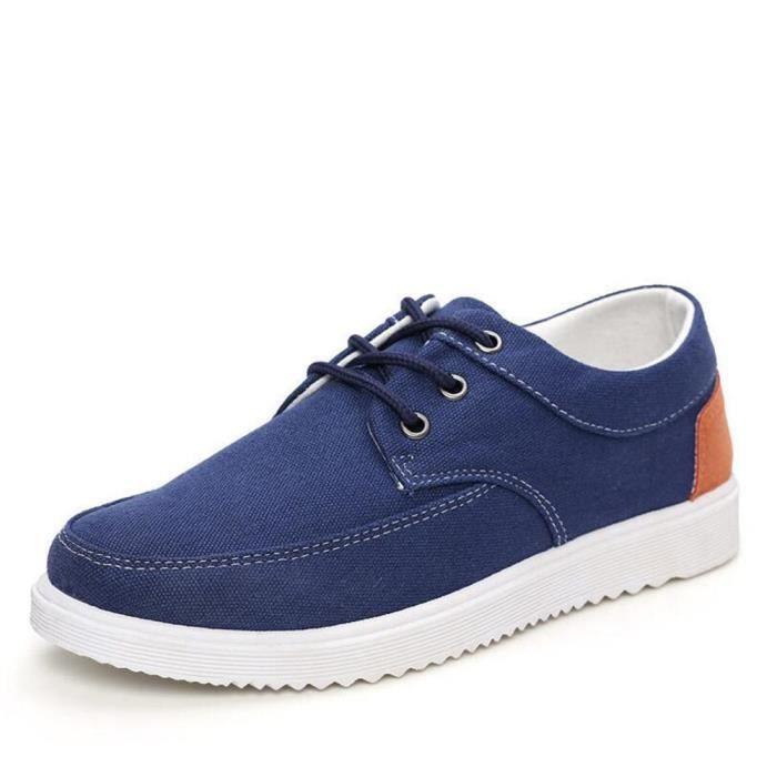 Chaussures En Toile Hommes Basses Quatre Saisons Populaire BJXG-XZ112Bleu42