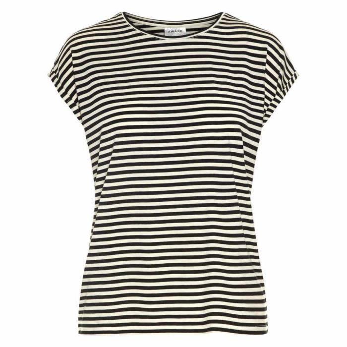 c01181a6c0d9a Vêtements femme T-Shirts Vero Moda Ava Plain Stripe Noir Noir ...