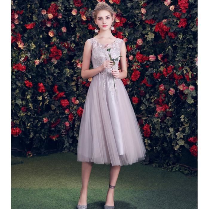 b35f27d5aa0 Gris Robe de Soirée Robe Longue pour Femme Princesse Fille Robe de  Demoiselle d honneur Sans Manches Épaule Cocktail Banquet