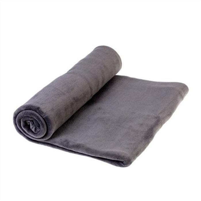plaid polaire microfibre gris fonc l230 cm achat vente couverture plaid cdiscount. Black Bedroom Furniture Sets. Home Design Ideas