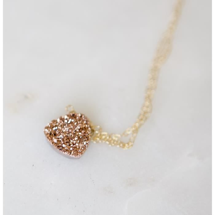 Womens Rose Druzy 14kt Gold Fill Necklace - 16 Length B6Q7C