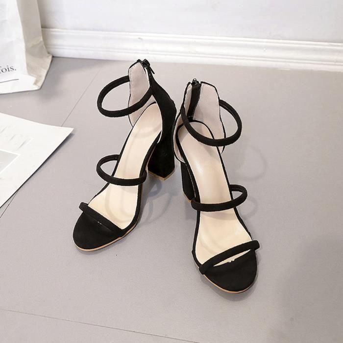 Napoulen®Mode femmes dames zip sandales cheville talons haut de bloc partie orteil Noir-XPP71225532BK
