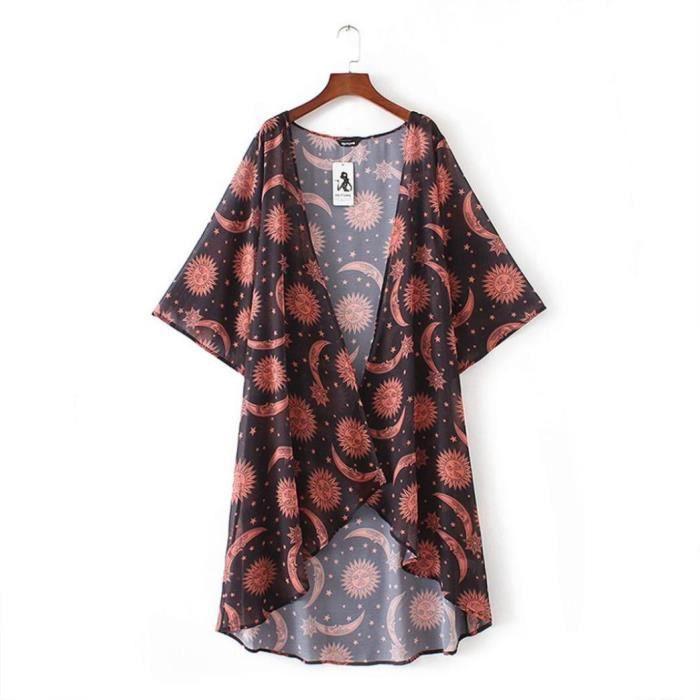 Cardigan Châle Top Soie Mousseline Femmes Couverture Ljl80419137 whicloud Marron Kimono Shir Print De Floral 8X1Fq0