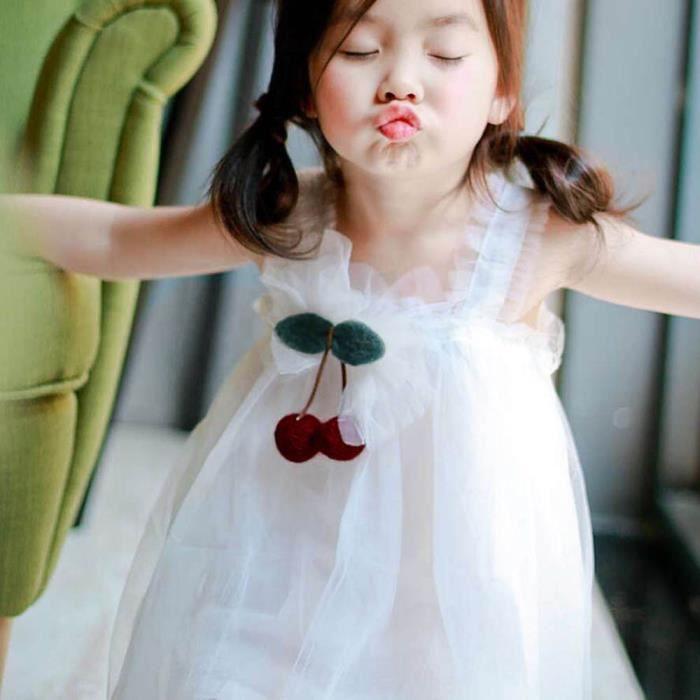 Mariée Casual Blanc Princesse Bébé Top Tulle Cherry Enfants De Robe Parti Dentelle RapvfwwWq