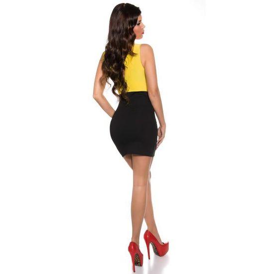 9e5a2cab78eb53 Robe courte soirée moulante noir jaune sexy femme Noir jaune - Achat /  Vente robe - Soldes d'été Cdiscount