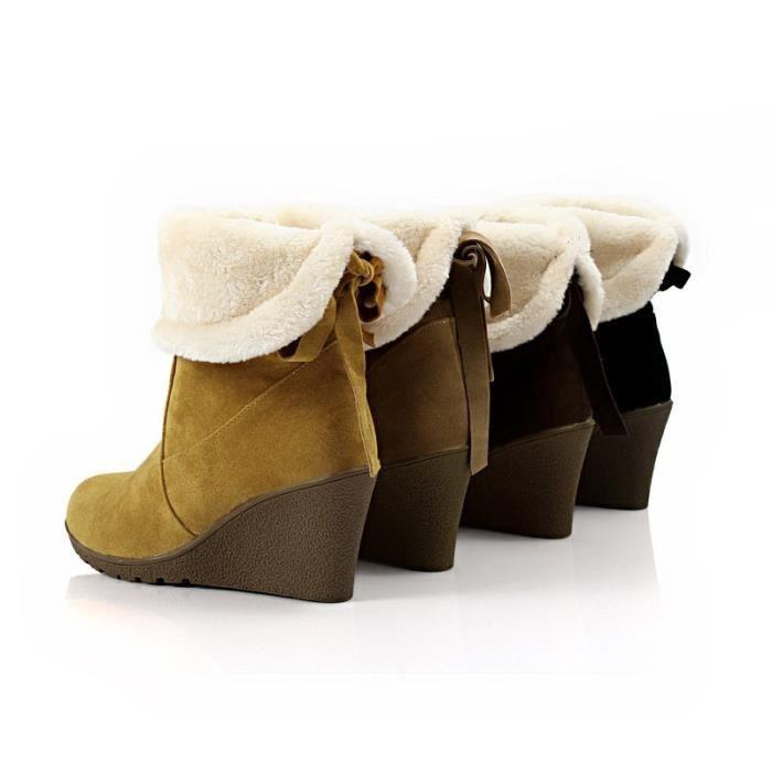 Mode fourrure de neige d'hiver Bottes femme Bottes talons 2017 femmes cheville Bottes hiver chaud chaussures de neige,kaki,36