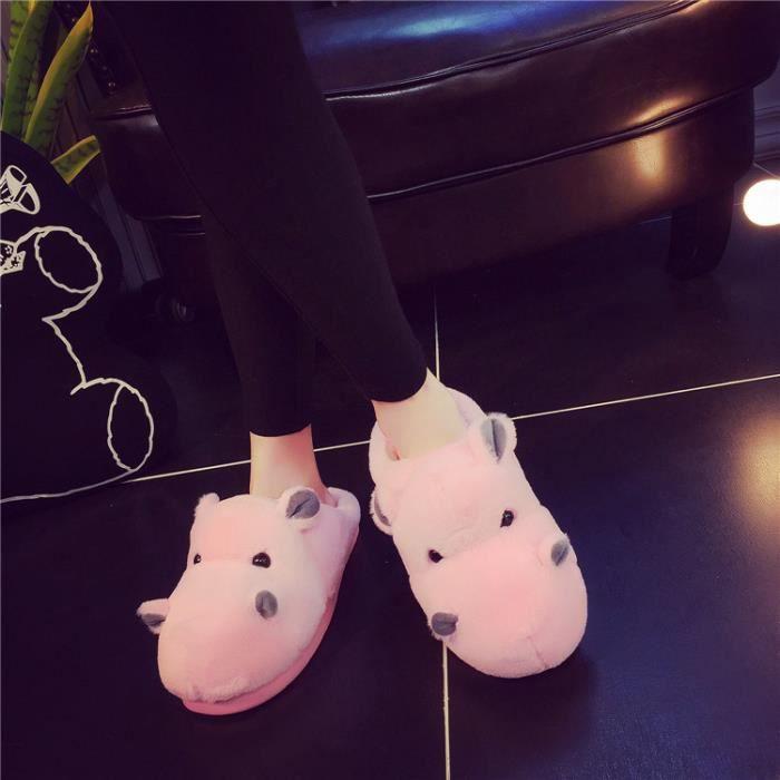 Pantoufles de coton hippopotames chaudes d'hiver Pantoufles femme Pantoufles hommes WFx5vYXBAY