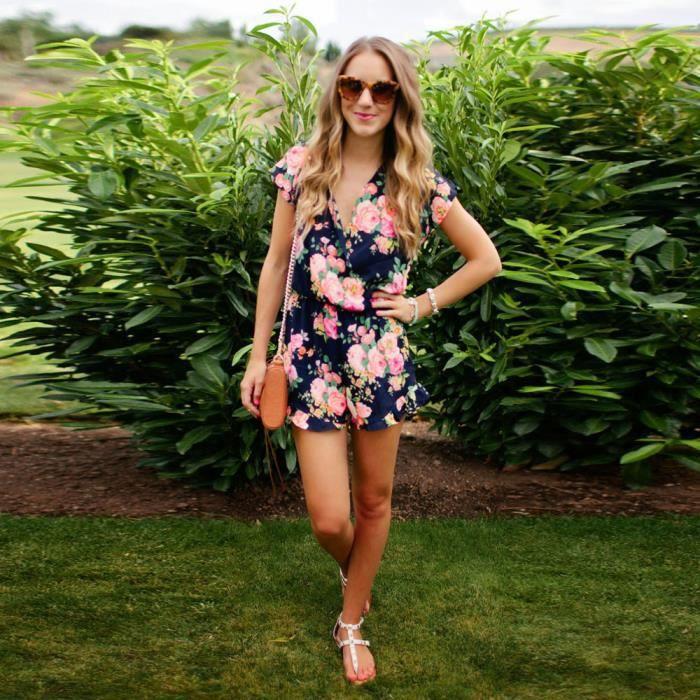 Manches Courtes Combishort En V Clubwear Causales Imprimé Floral rose Jumpsuit Femmes Col Fdx5w0RnFq