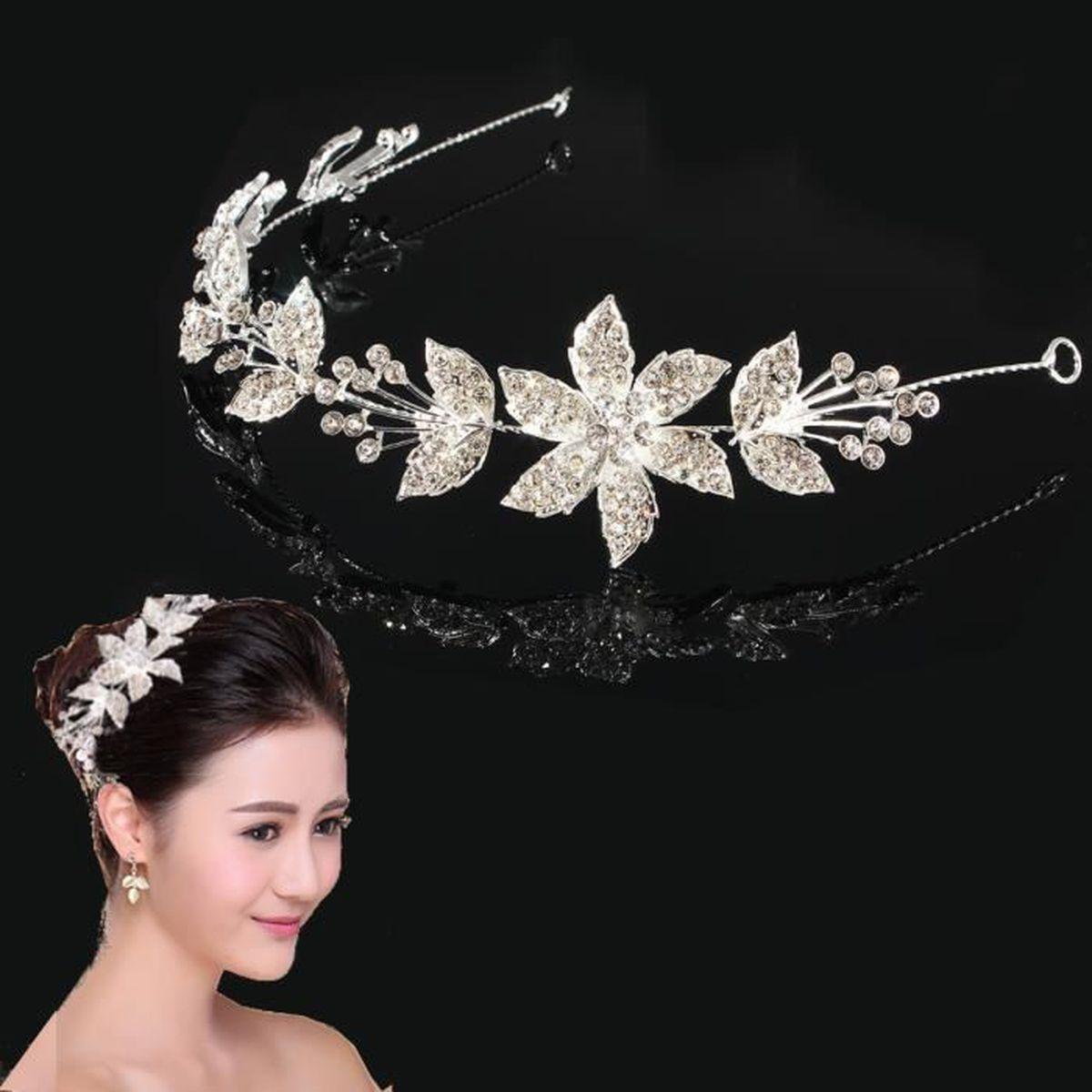 couronne mariage soir e bijoux cheveux diad me cristal brillant feuille fleur achat vente. Black Bedroom Furniture Sets. Home Design Ideas