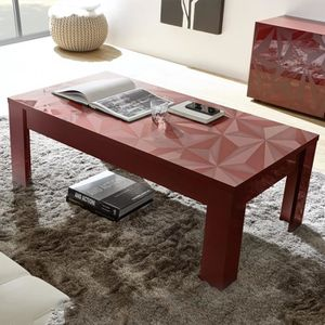 TABLE BASSE Table Basse Rouge Design Laquée PAOLO 2 Rouge L 12