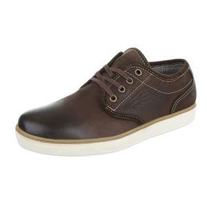 homme chaussures flâneurs cuir lacer marron foncé 41 HLiSo95