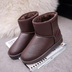 BOTTE Femmes Boot plat cheville fourrure doublée hiver c