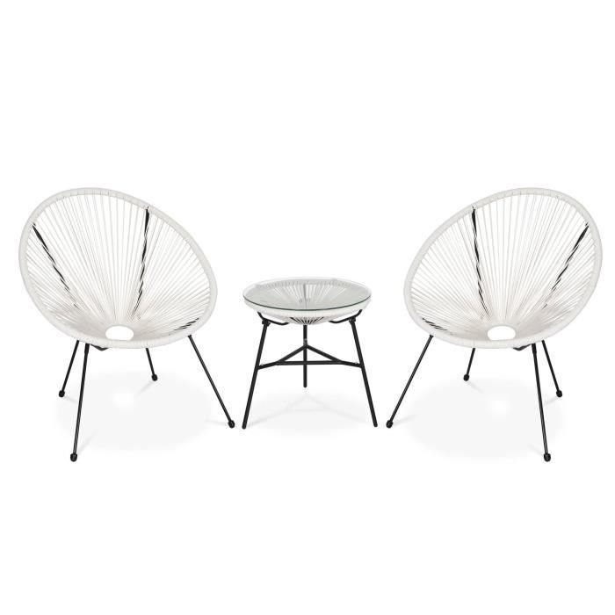 Lot de 2 fauteuils ACAPULCO forme d\'oeuf avec table d\'appoint ...