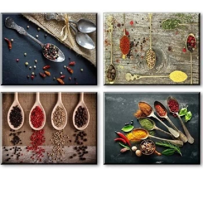 TABLEAU - TOILE @PRINTING MALL-4 Piece Spice and Spoon Wall Art Ca