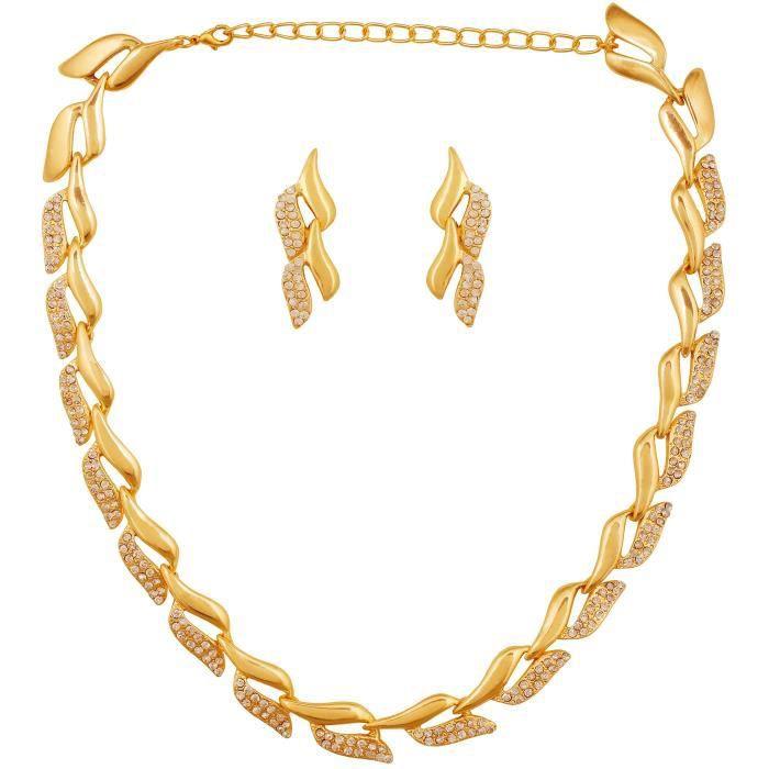 Collier Strand or diamant autrichienne boucles doreilles de femmes Set PourIU5E8