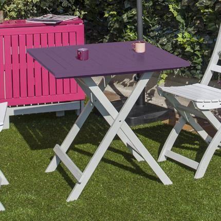 Table pliante 65x65x74 en acacia coloris aubergine - Achat / Vente ...