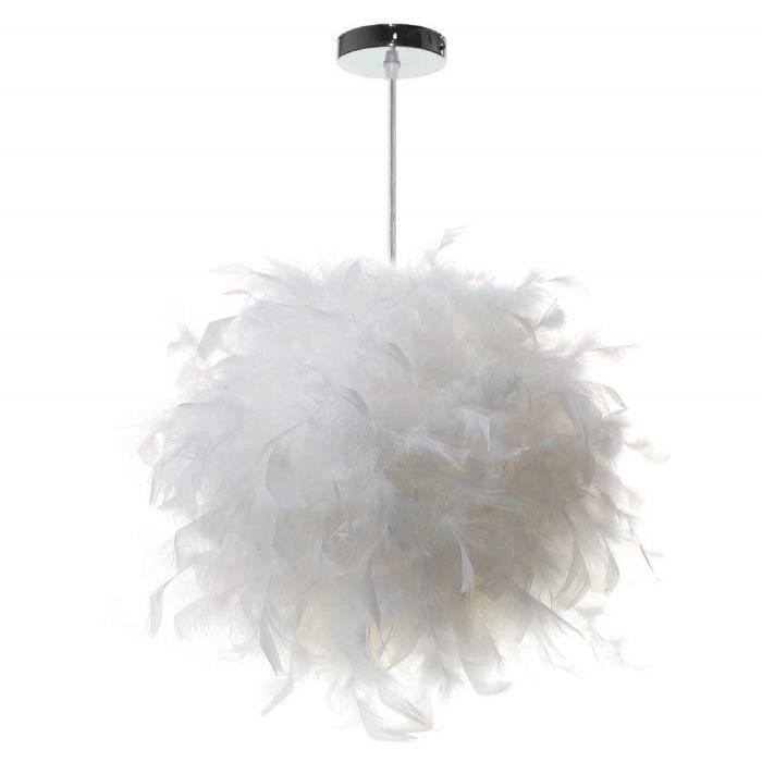 Camio Lustre Suspension luminaire en plume blanche design forme sphère E27  40W pour Chambre Décoration Cadeau d\'enfant