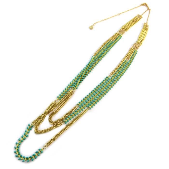 Collier sautoir artisanal Azuni turquoise doré (fait main) [P1730]