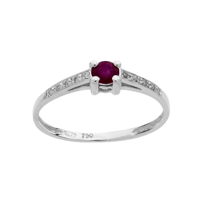 DIAMANTLY Bague rubis 3,5mm diamants 0,05ct or gris 750/1000