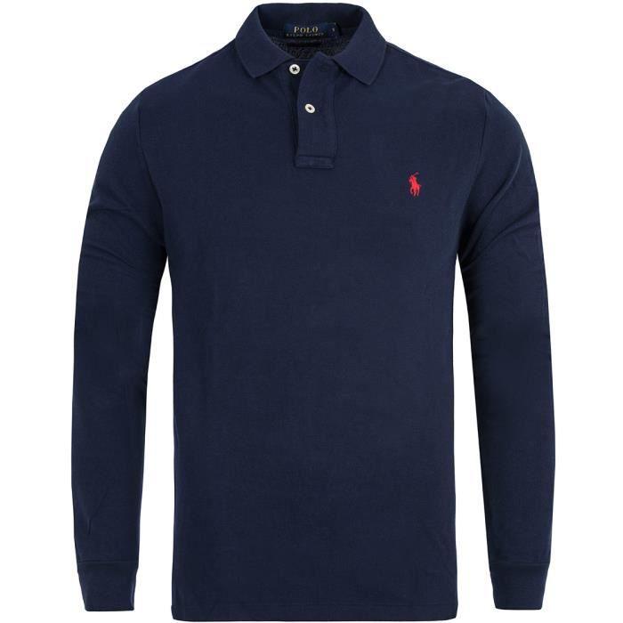 Ralph Lauren - Polo ralph lauren custom fit bleu marine Bleu marine ... 751456a9428b