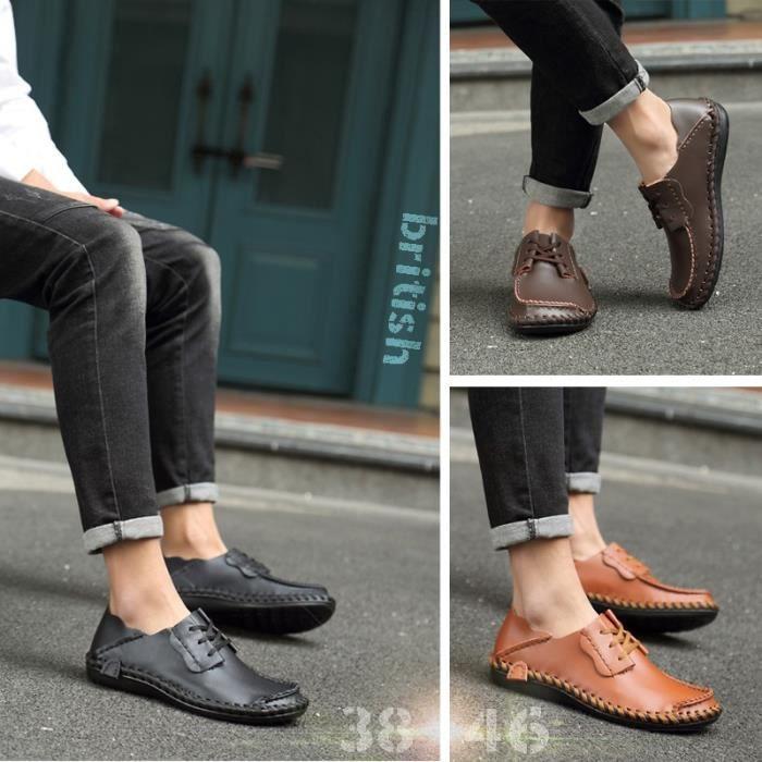 Chaussures respirantes britanniques Chaussures en cuir décontractée Chaussures Hommes Chaussures Lazy grande taille Sandales de 6XjcXXSeJ
