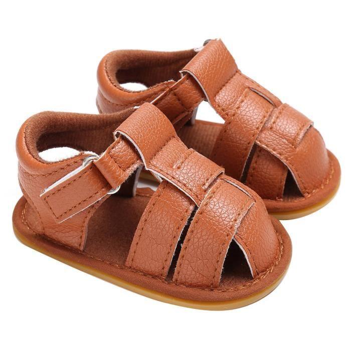 Napoulen®Bébé garçons mignons chaussures de berceau anti-dérapantes semelles souples sandales MARRON-XPP20171095 LgVgdQl