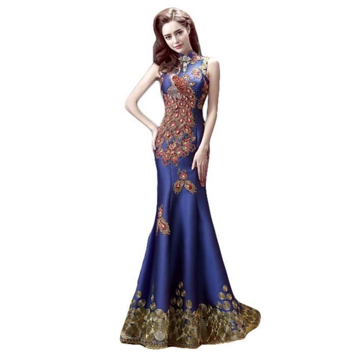 2a72711cc15f Robe de soirée robe de ceremonie de cocktail de mariage élégant Paon bleu