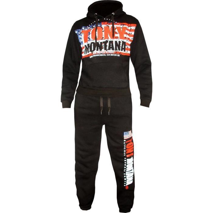 d94e71b05c2262 Survetement Jogging Tony Montana - SET/FLASH (S - Noir) Noir Noir ...