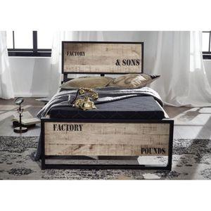 lit style industriel achat vente pas cher. Black Bedroom Furniture Sets. Home Design Ideas