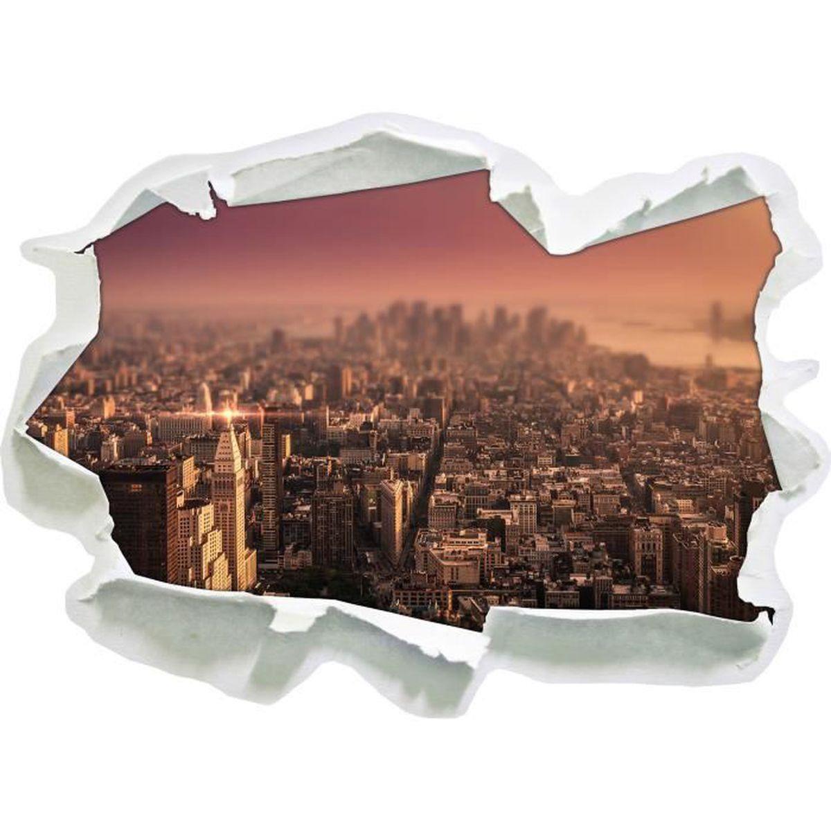 3D-Look Papier Wandtattoo Aufkleber-Sticker New York City