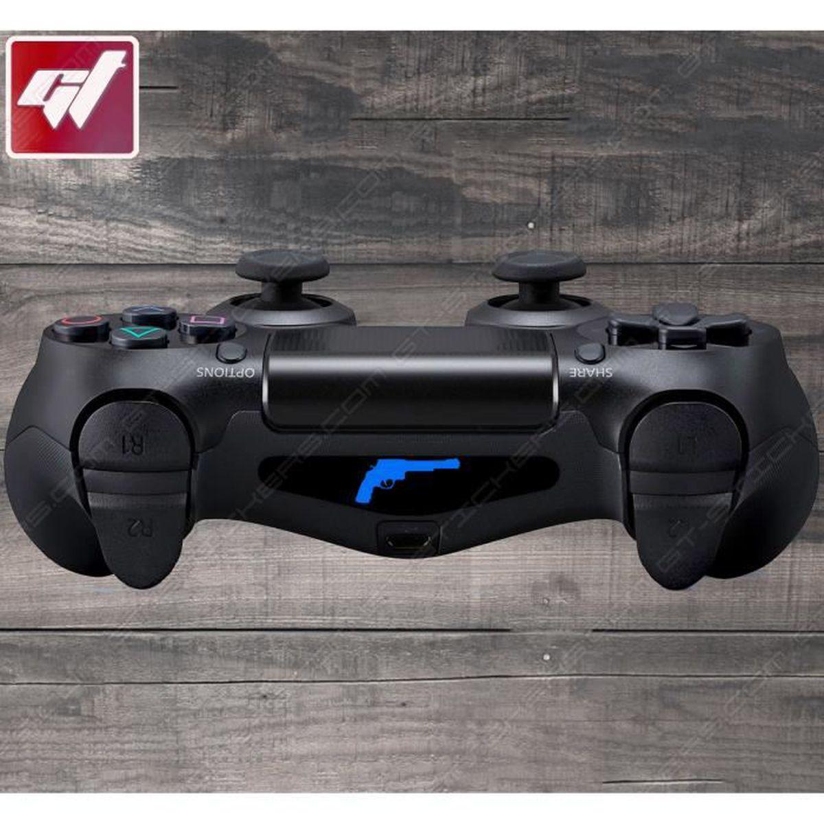 4X Stickers Autocollants PS4 LIGHT BAR - Pistolet Magnum