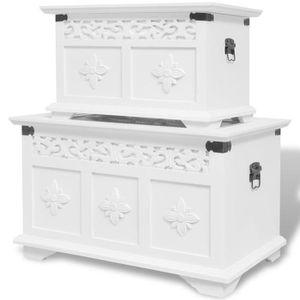coffre de rangement blanc achat vente pas cher. Black Bedroom Furniture Sets. Home Design Ideas