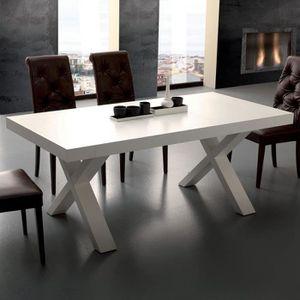 TABLE À MANGER SEULE Table à manger extensible design blanc LENA  160 c