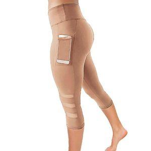 PANTALON DE SUDATION Femmes Skinny Leggings Patchwork Mesh Yoga Fitness
